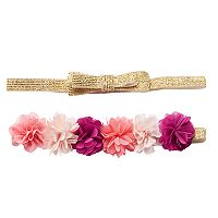 Girls 4-7 Carter's 2-pk. Metallic Bow & Flower Headbands