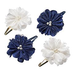 Girls 4-7 Carter's 4-pk. Beaded Mesh Flower Hair Clips