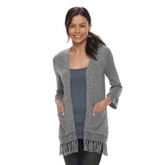 Petite SONOMA Goods for Life™ Pointelle Fringe-Hem Cardigan