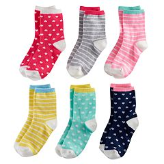 Girls 4-7 Carter's 6-pk. Hearts & Stripes Crew Socks