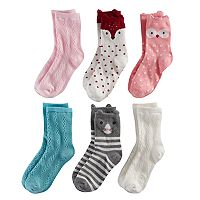 Girls 4-7 Carter's 6-pk. Animal Character Crew Socks