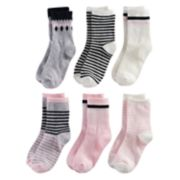 Girls 4-7 Carter's 6-pk. Black & Pink Crew Socks