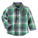 Toddler Boy OshKosh B'gosh® Plaid Button-Front Poplin Shirt