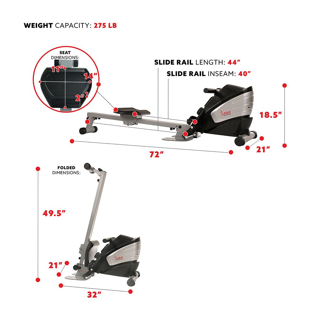 Sunny Health & Fitness Dual Function Magnetic Rowing Machine