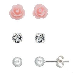 Charming Girl Kids' Crystal, Flower & Ball Stud Earring Set