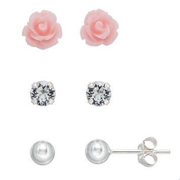 Charming Girl Kids' Crystal, Flower & Ball Stud Earring Set