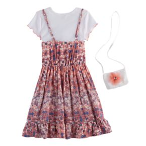 Girls 4-6x Knitworks Top & Floral Slip Dress Set with Crossbody Purse