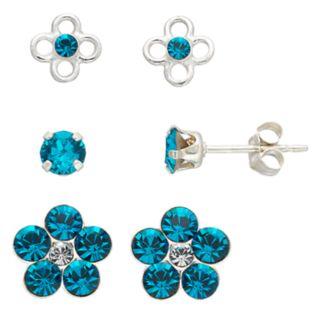 Charming Girl Kids' Crystal Flower Stud Earring Set