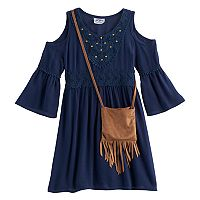 Girls 4-6x Knitworks Cold-Shoulder Bell Sleeve Dress with Crossbody Purse