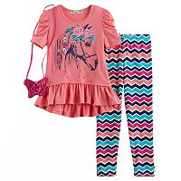 Girls 4-6x Knitworks Horse Ruffle Hi-Low Top & Chevron Leggings Set with Purse