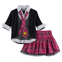 Girls 4-6x Knitworks Plaid & Tulle Uniform Tie Top & Skirt Set
