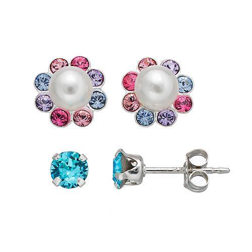 Charming Girl Kids' Simulated Pearl & Crystal Stud Earring Set