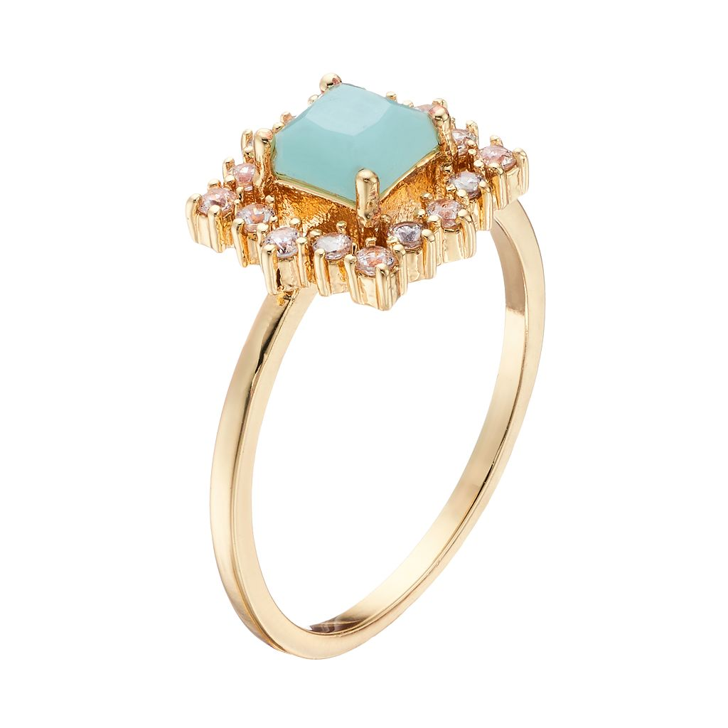LC Lauren Conrad Mint Green & Cubic Zirconia Ring