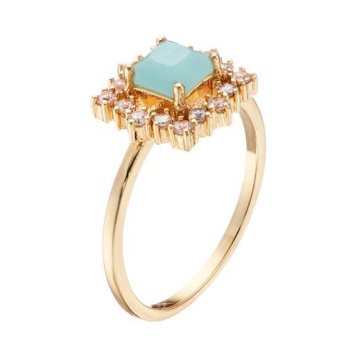 LC Lauren Conrad Mint Green & Cubic Zirconia Ring