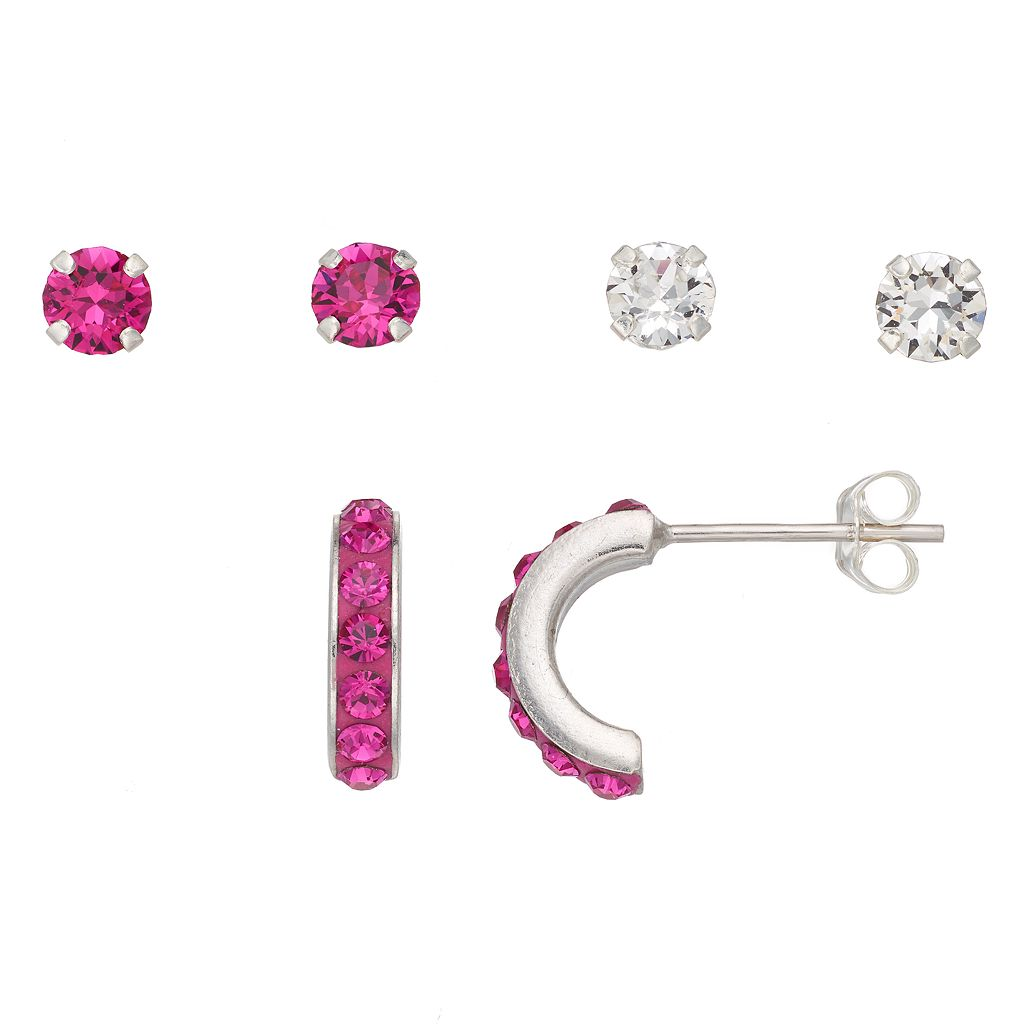 Charming Girl Kids' Crystal Stud & Semi-Hoop Earring Set