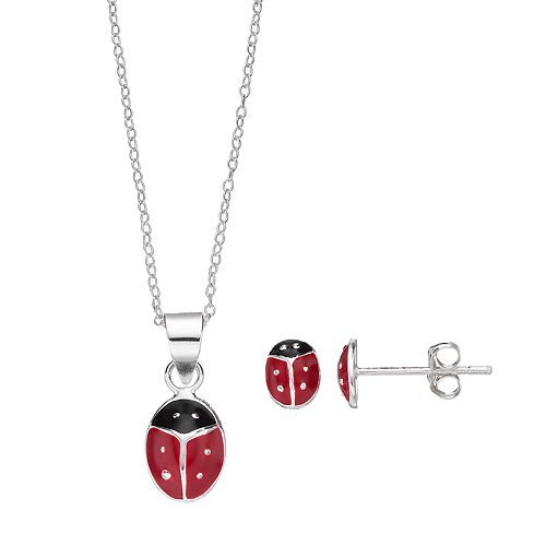 Charming Girl Sterling Silver Kids' Ladybug Pendant & Stud Earring Set