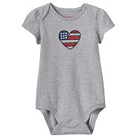 Baby Girl Jumping Beans® American Flag Heart Bodysuit
