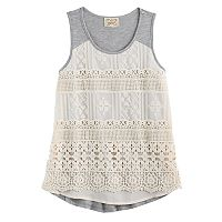 Girls 7-16 Eyelash Crochet Lace Front Tank Top