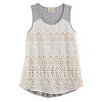 Girls 7-16 Eyelash Crochet Lace Front Tank Top