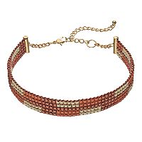 Pink & Cream Seed Bead Choker Necklace