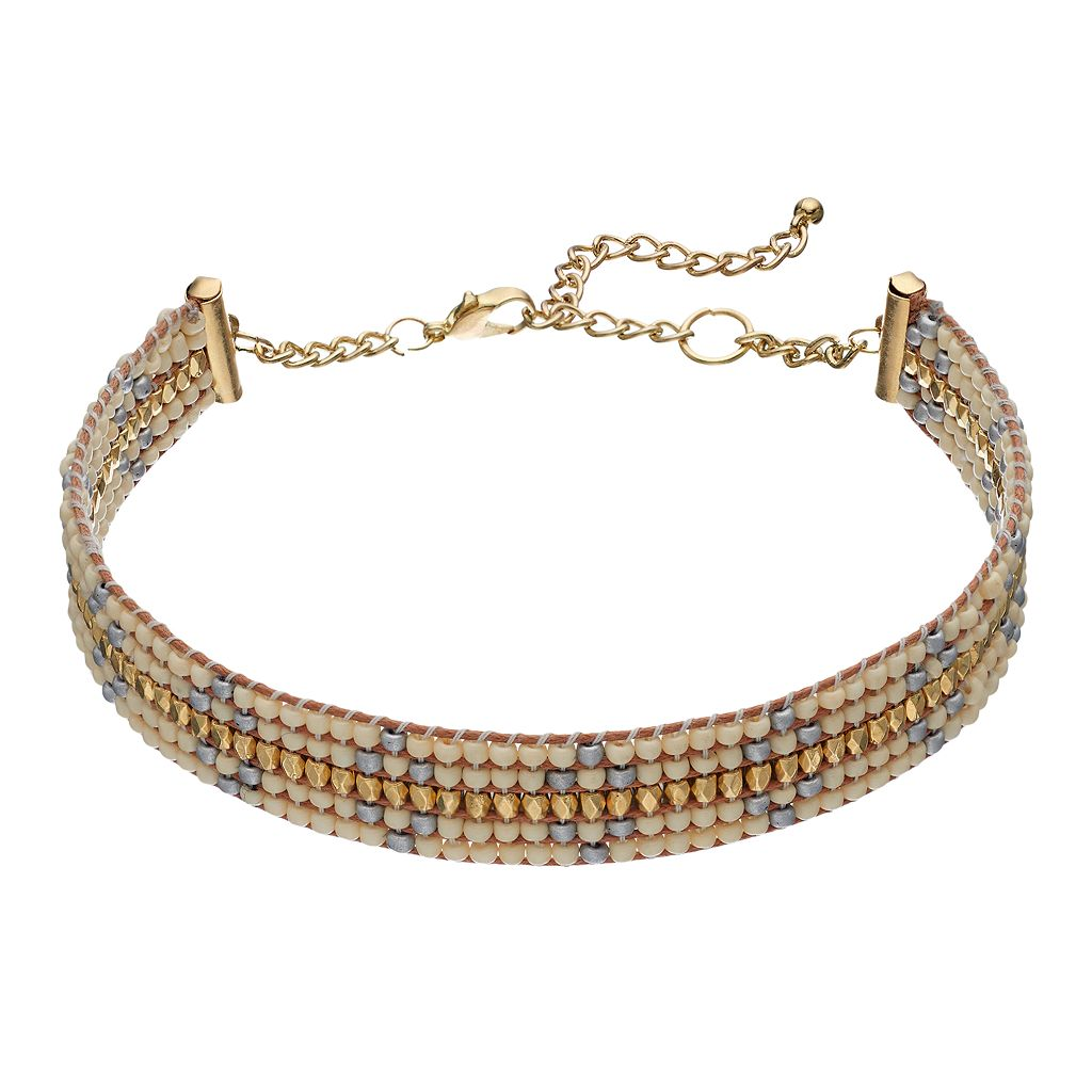 Cream & Blue Seed Bead Choker Necklace