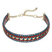 Red & Blue Beaded Choker Necklace