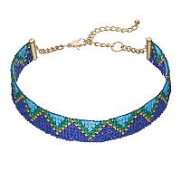 Blue & Green Seed Bead Zigzag Choker Necklace