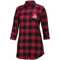 Women's Ohio State Buckeyes Fireside Flannel Button-Down Shirt