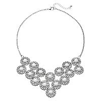 White Cabochon Openwork Disc Statement Necklace