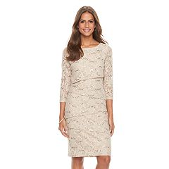 Women's Ronni Nicole Tiered Sequin Lace Sheath Dress