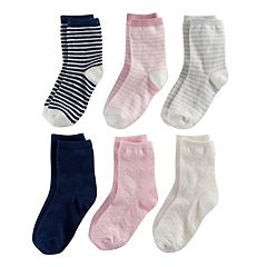 Girls 4-7 Carter's 6-pk. Lurex Stripe Crew Socks