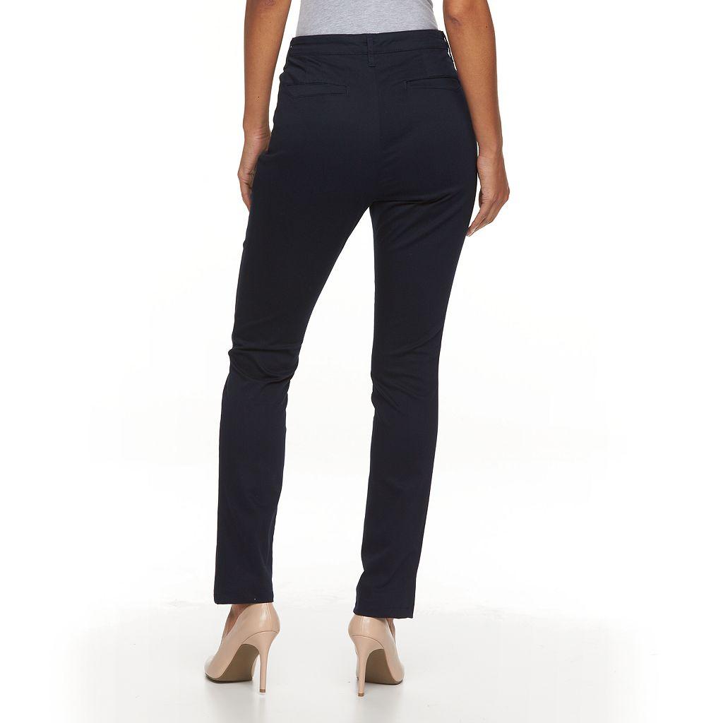 Petite Gloria Vanderbilt Anita Twill Straight-Leg Pants