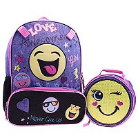 Emoji Sequin Backpack & Lunch Tote Set
