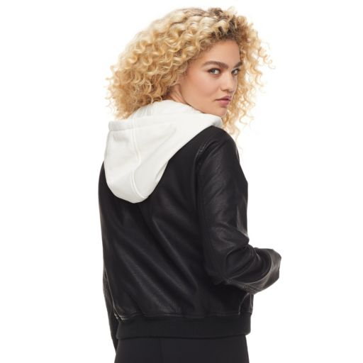 madden NYC Juniors' Hooded Faux Leather Bomber Jacket