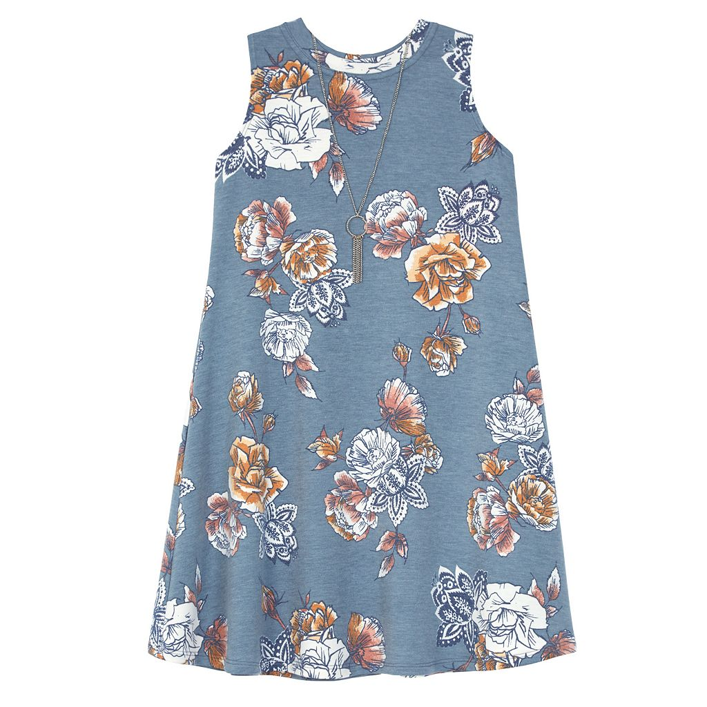 Girls 7-16 IZ Amy Byer Floral Print French Terry Swing Dress with Necklace