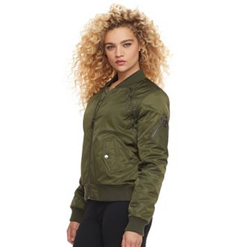 madden NYC Juniors' Lace-Up Bomber Jacket