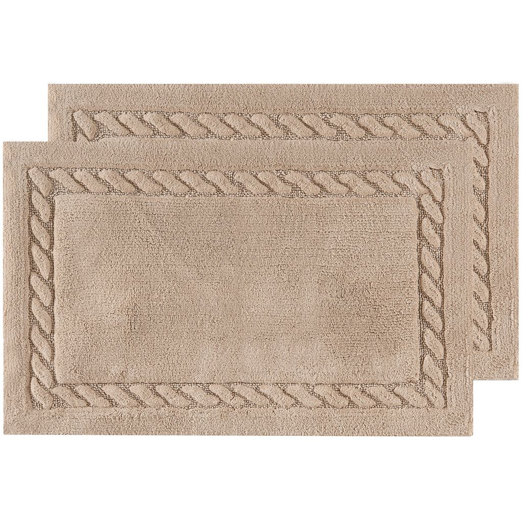 Safavieh 2-pack Cable Plush Framed Bath Rug Set - 21'' x 34''