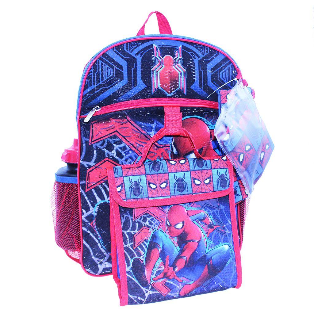 Kids Marvel Spider-Man Backpack, Lunch Bag, Cinch Sack, Zip Pouch & Water Bottle Set