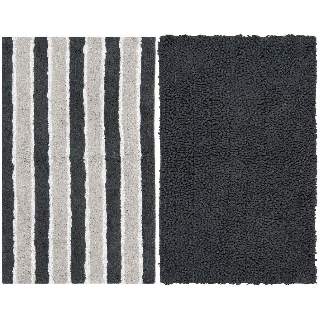 Safavieh 2-pack Riviera Solid Stripe Bath Rug Set - 21'' x 34''