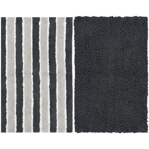 Safavieh 2-pack Riviera Solid Stripe Bath Rug Set - 27'' x 45''