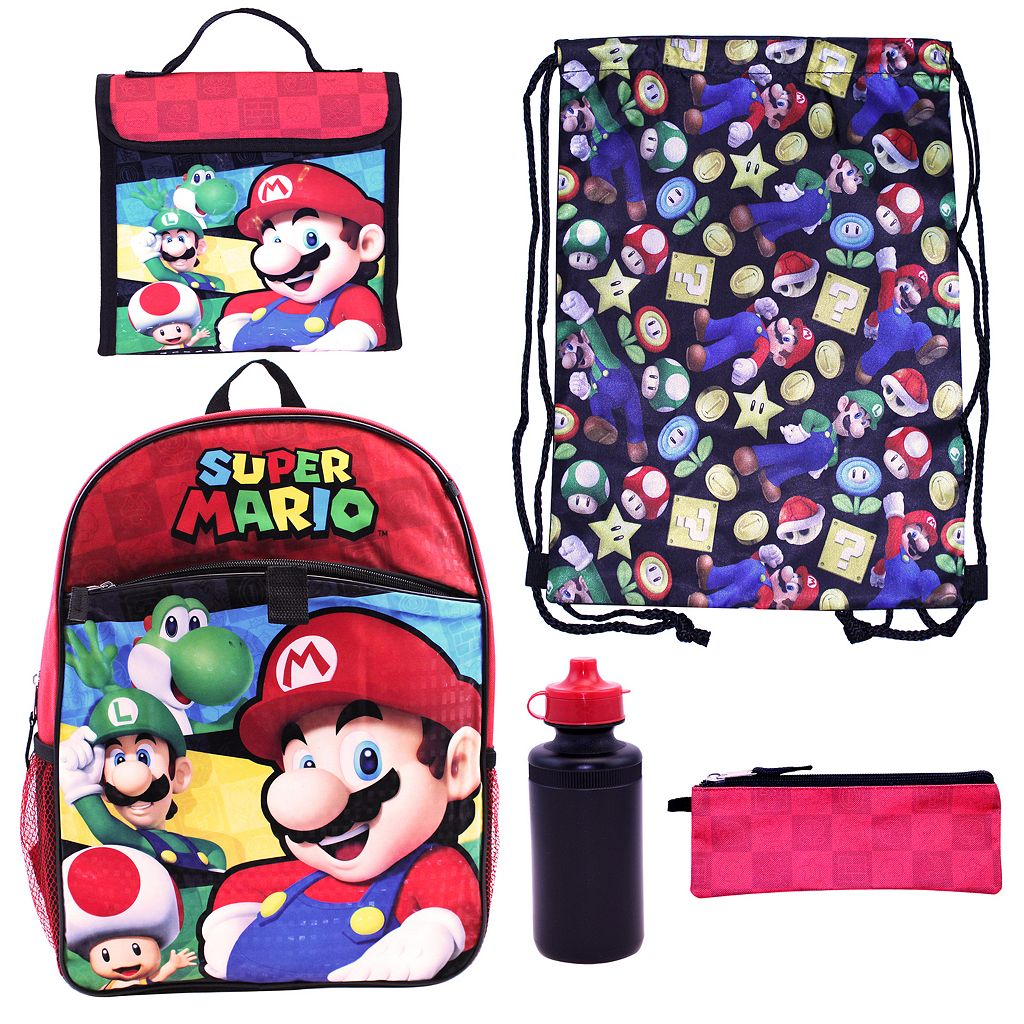 Kids Super Mario Luigi, Mario & Toad Backpack, Lunch Bag, Cinch Sack, Zip Pouch & Water Bottle Set