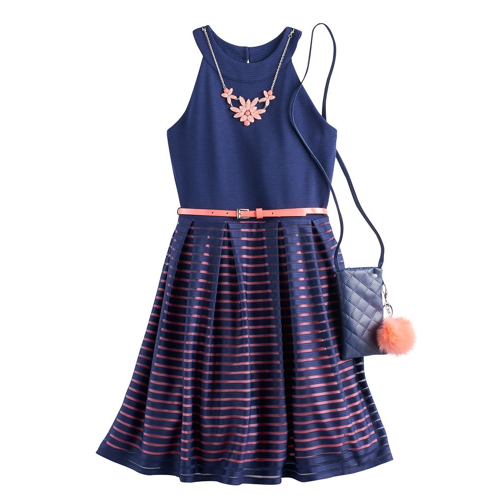 Girls 7-16 Knit Works Burnout Striped Skater Dress with Crossbody Purse