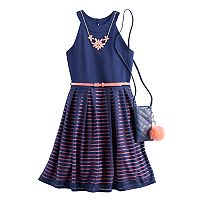 Girls 7-16 Knit Works Burnout Striped Skater Dress with Crossbody Purse