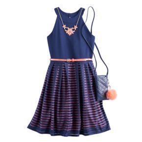 Girls 7-16 Knitworks Burnout Striped Skater Dress with Crossbody Purse