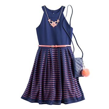 Girls 7-16 Knitworks Burnout Striped Skater Dress with Crossbody Purse