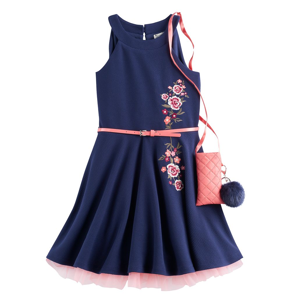 Girls 7-16 Knit Works Embroidered Textured Skater Dress with Crossbody Purse