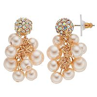 Simulated Pearl Cluster Nickel Free Drop Earrings