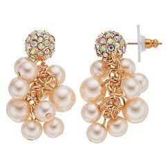 Simulated Pearl Cluster Nickel Free Drop Earrings