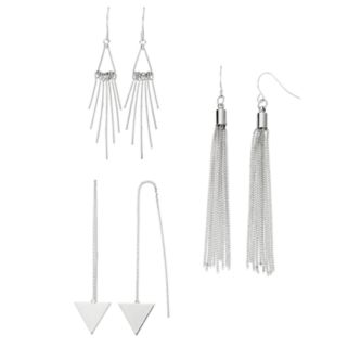 Triangle Threader, Tassel & Stick Drop Earring Set