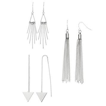 Triangle Threader, Tassel & Stick Drop Earring Set